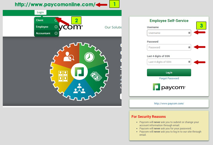 paycom employee self service login steps