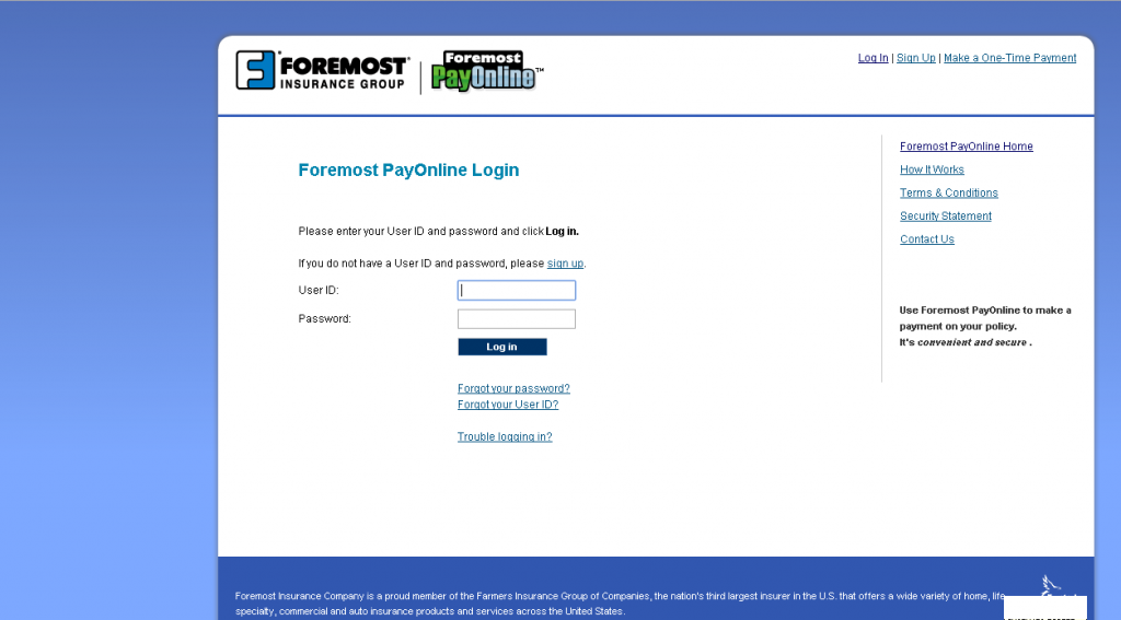 foremostpayonline login page screenshot
