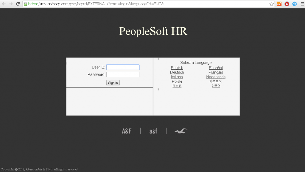 abercrombie and fitch employee login page screenshot