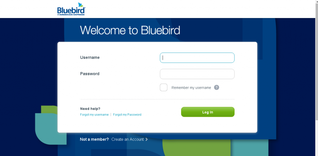 bluebird american express login page screenshot