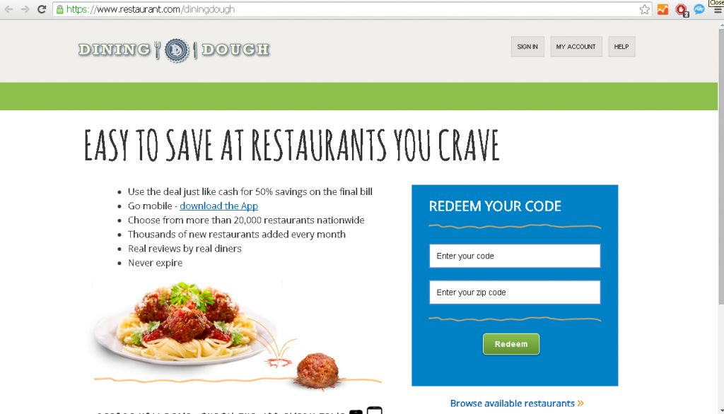 dining dough redeem certificate portal screenshot