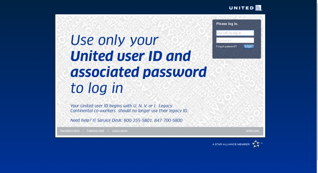 united airlines skynet employee login page screenshot