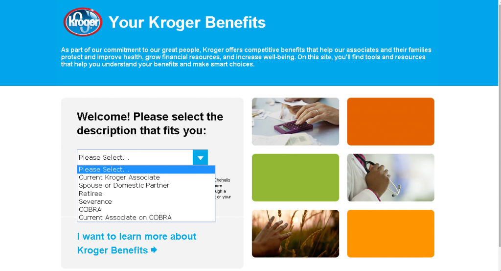 kroger employee login for associate benefits screenshot