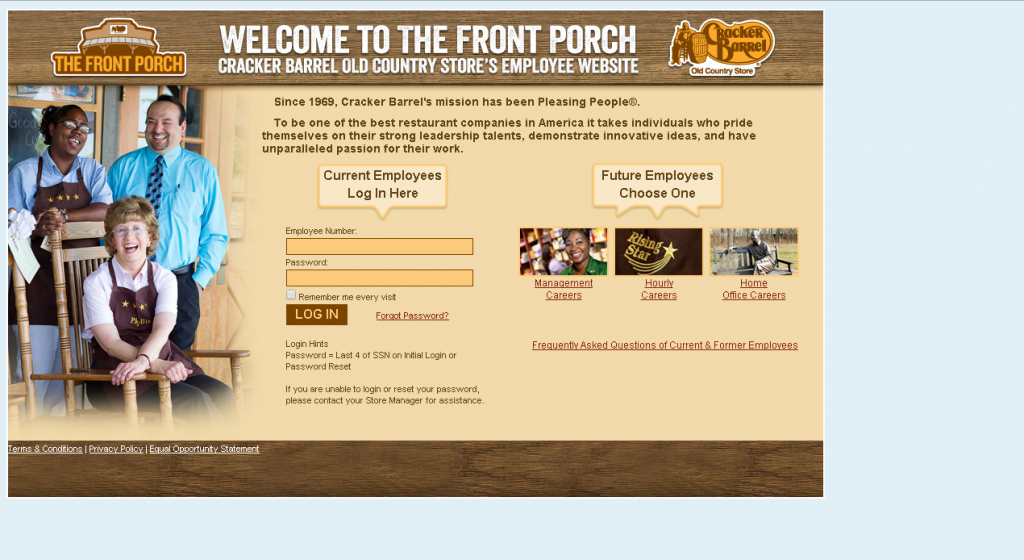 cracker barrel employee login portal screenshot