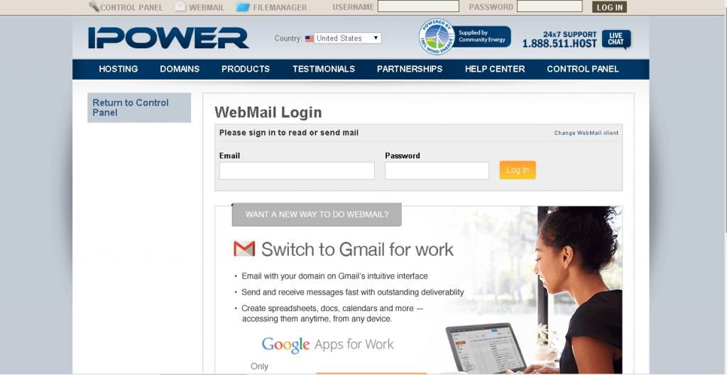 ipower webmail login portal screenshot