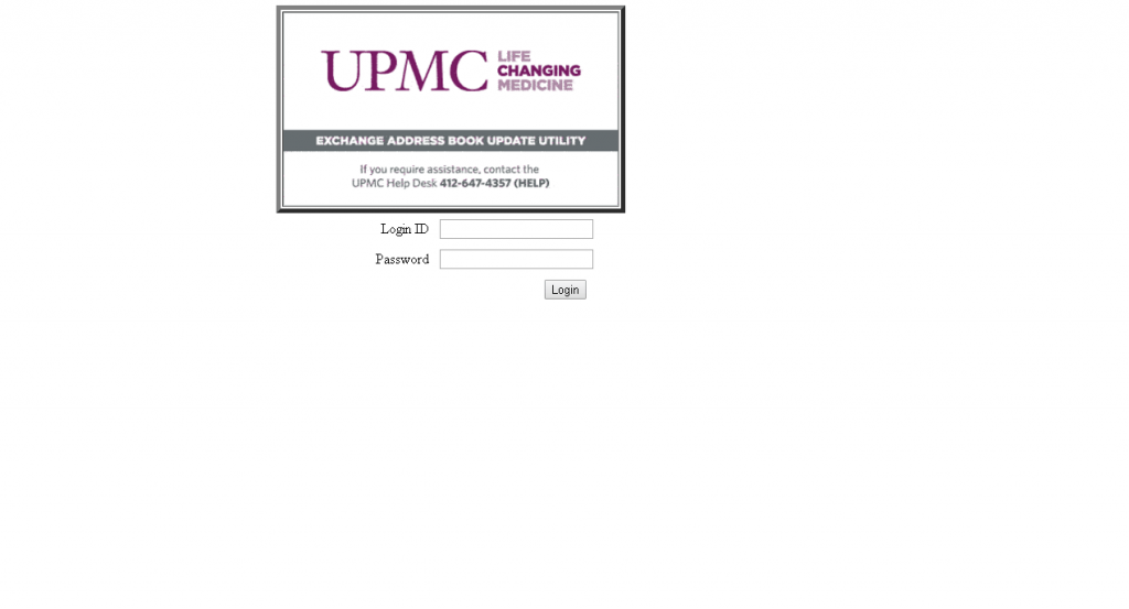 Mail.upmc.edu email UPMC Login address book screenshot