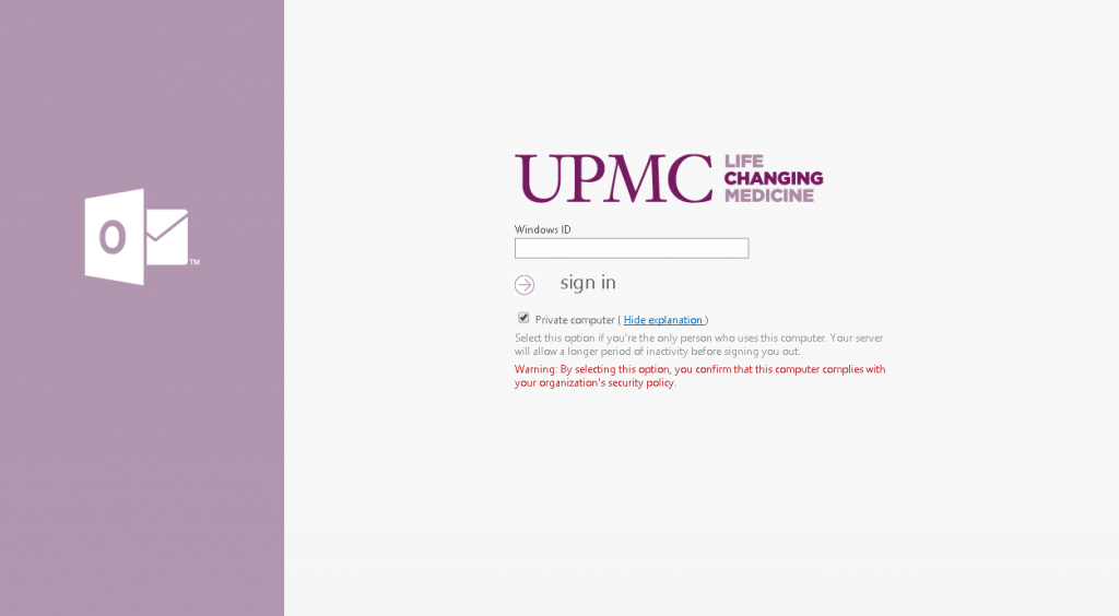 Mail.upmc.edu email UPMC Login page screenshot