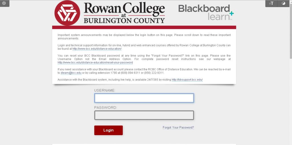 bcc blackboard login portal screenshot