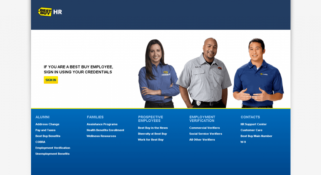 best buy employee login portal screenshot