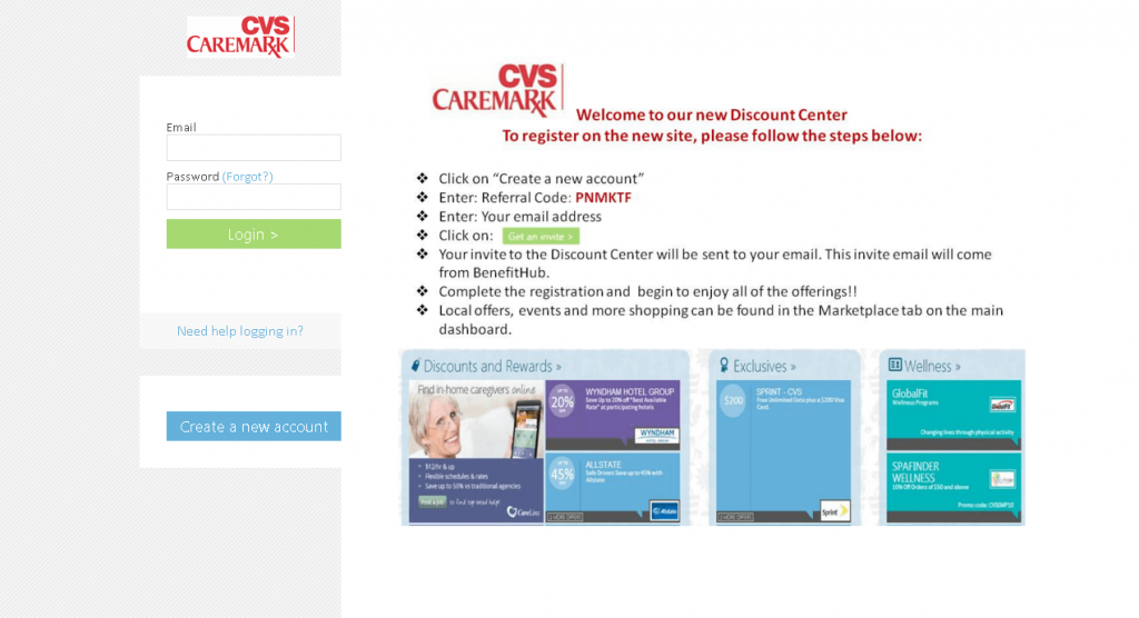 This is how the cvs employee login page for employee discounts looks