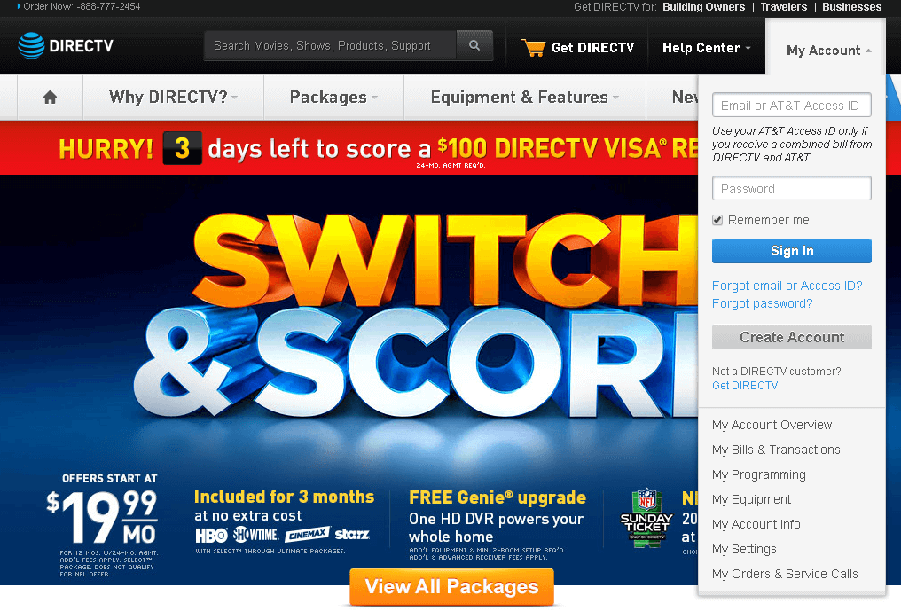directv login website screenshot
