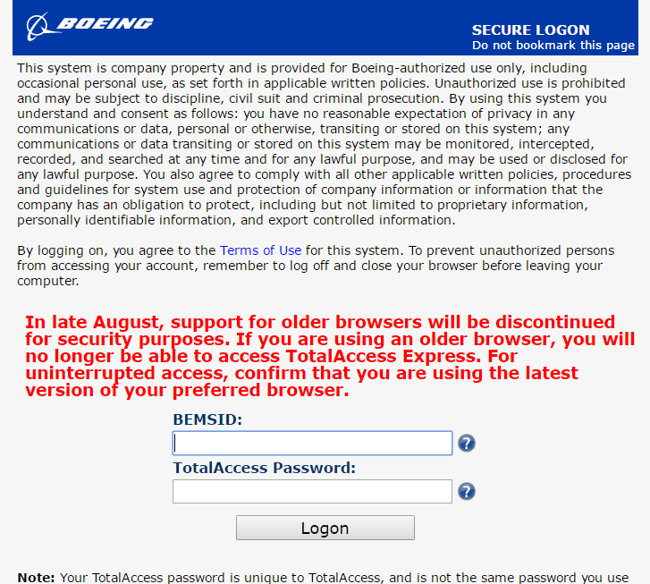 boeing express login page screenshot
