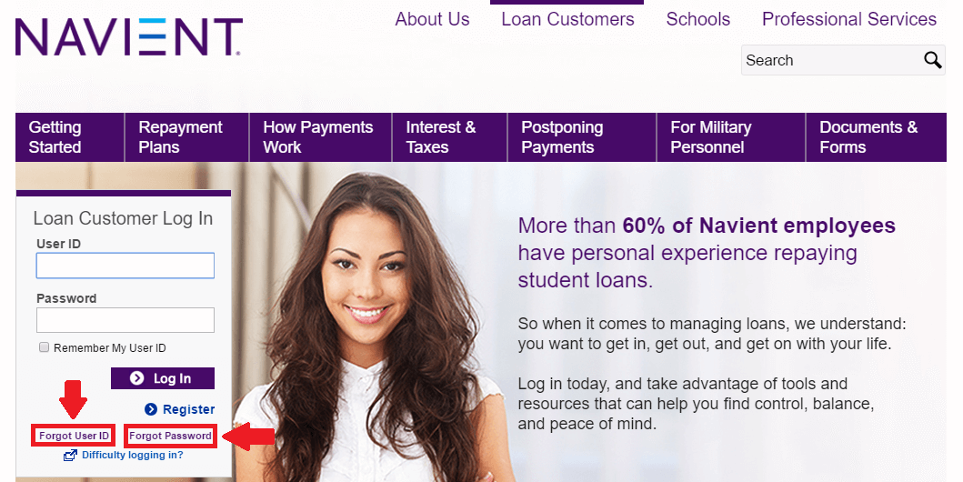 navient forgot user id or password options screenshot