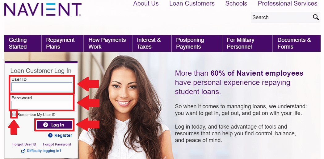 navient student loan login page screenshot