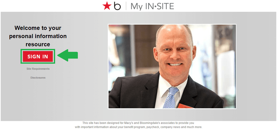 Macys InSite Employee Login page screenshot