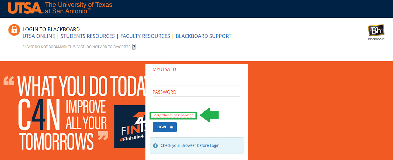 utsa blackboard forgot passphrase link screenshot