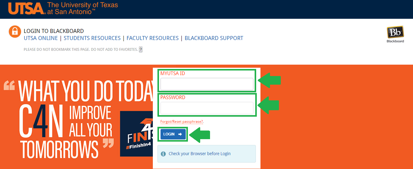 utsa blackboard login process screenshot