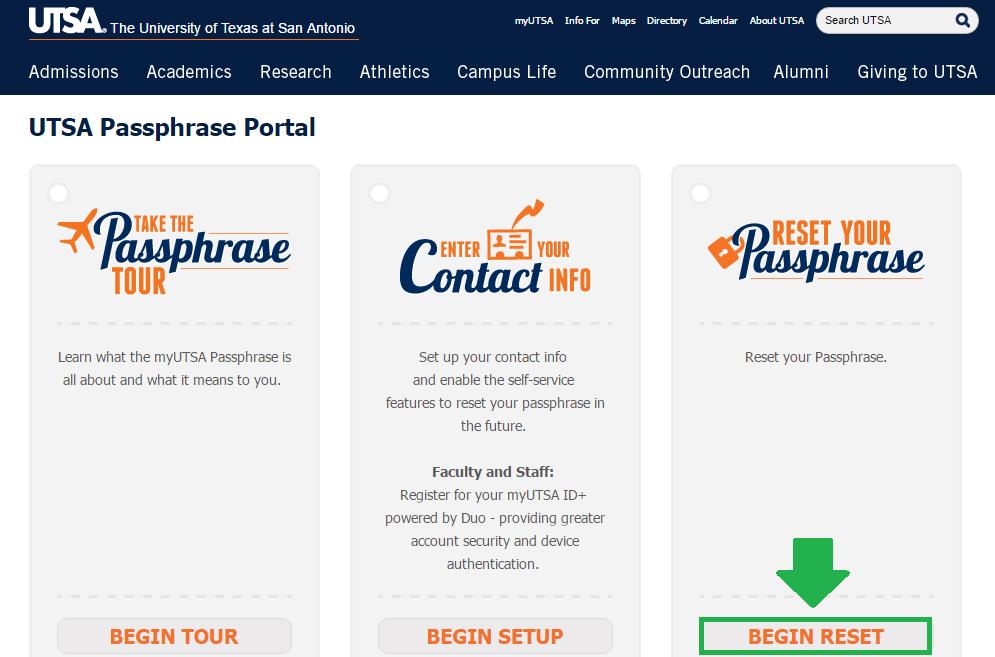 utsa mail begin reset button screenshot
