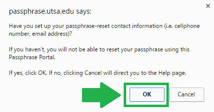 utsa mail forgot passphrase step 1 screenshot