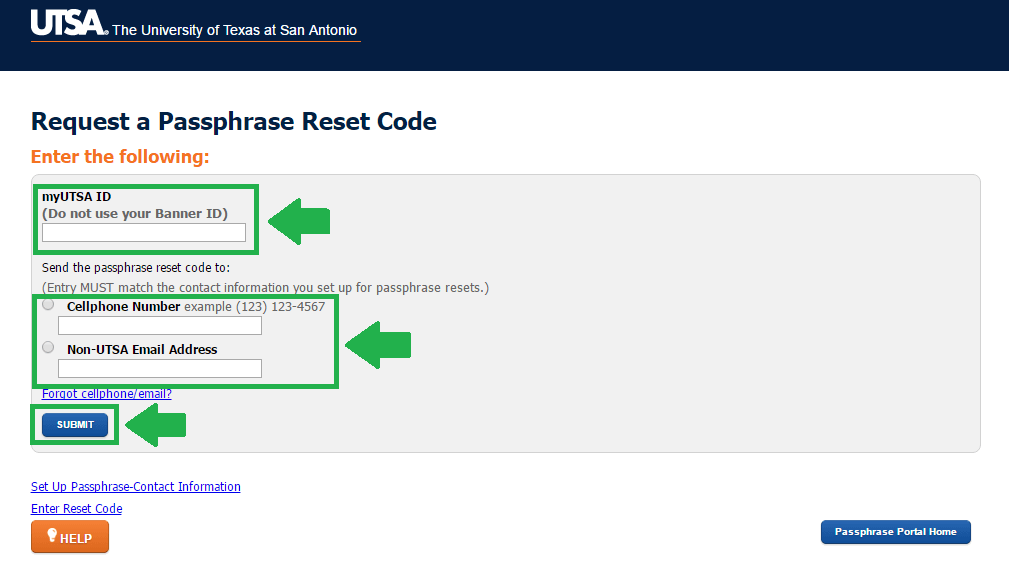 utsa mail forgot passphrase step 2 screenshot