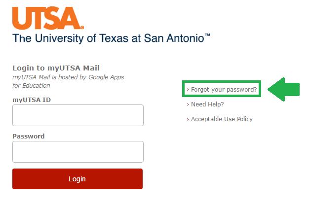 utsa mail forgot password link screenshot