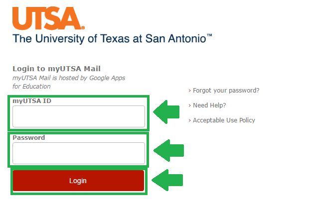 utsa mail login process screenshot