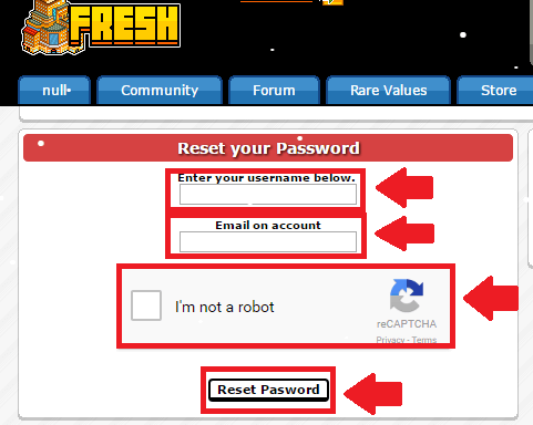 fresh hotel forgot password process screenshot