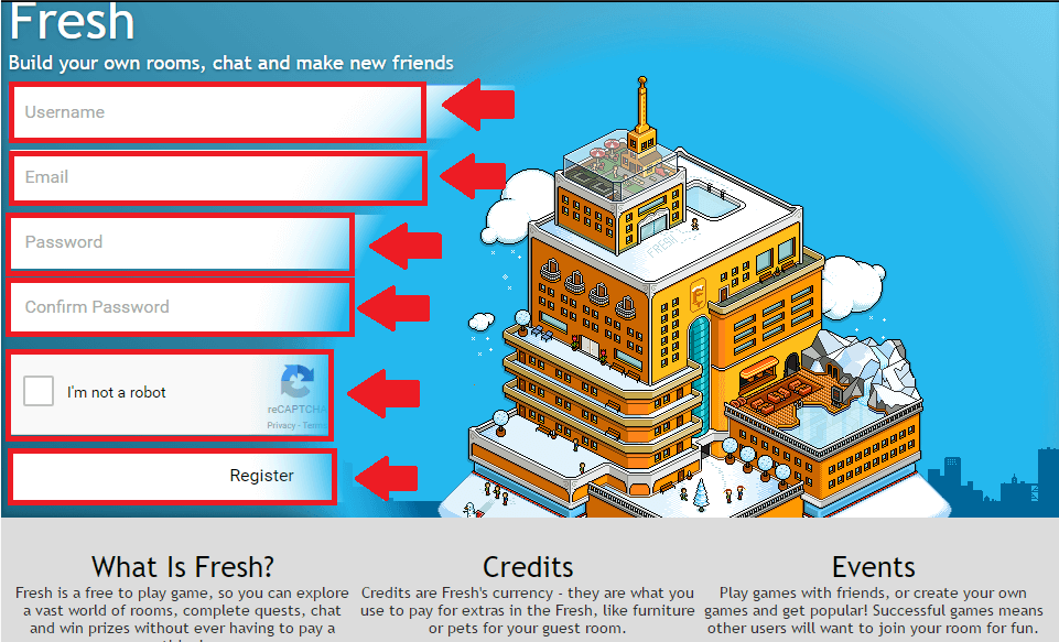 fresh hotel registration process screenshot