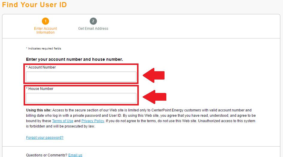 centerpoint energy forgot user id process screenshot
