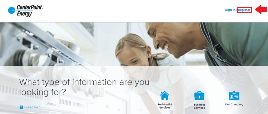 centerpoint energy register button screenshot