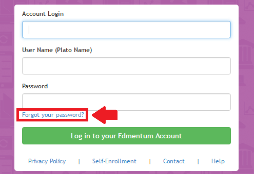plato learning environment forgot password link screenshot