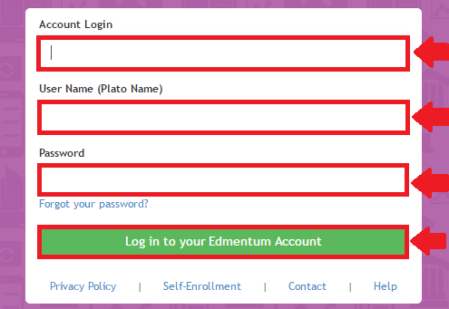 plato learning environment login process screenshot