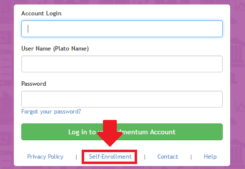 plato learning environment self-enrollment link screenshot