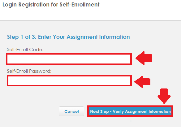 plato learning environment self-enrollment process step 1 screenshot