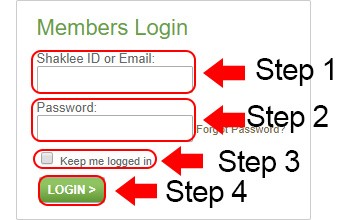 shaklee center login page