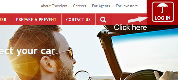 Travelers Insurance Account Login button