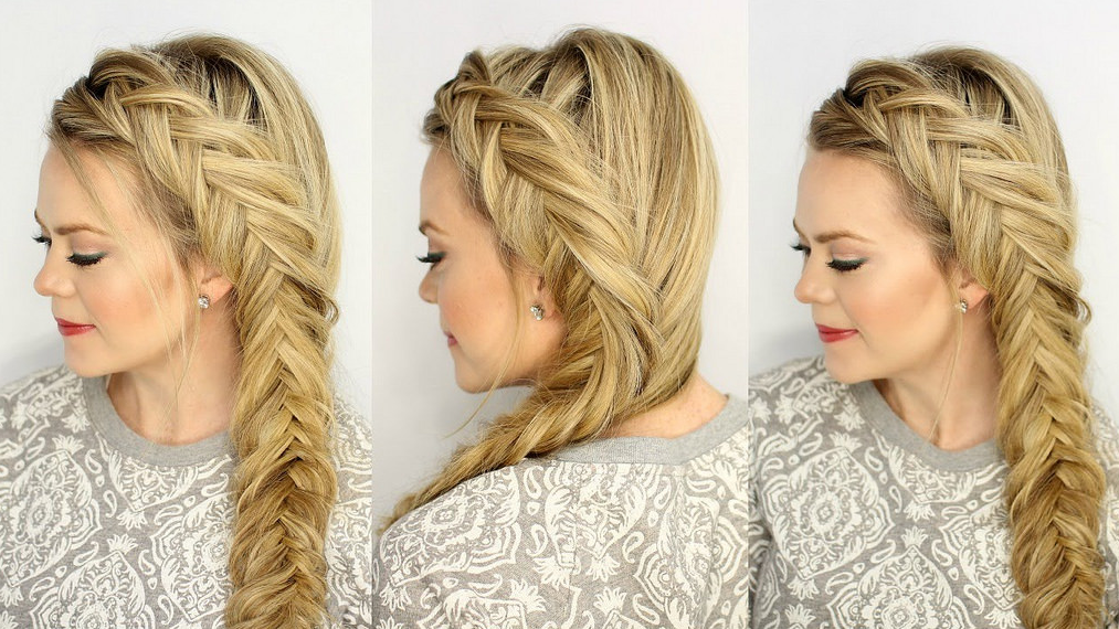 Blonde woman in three different pictures with different angles of her fishtail braided hair