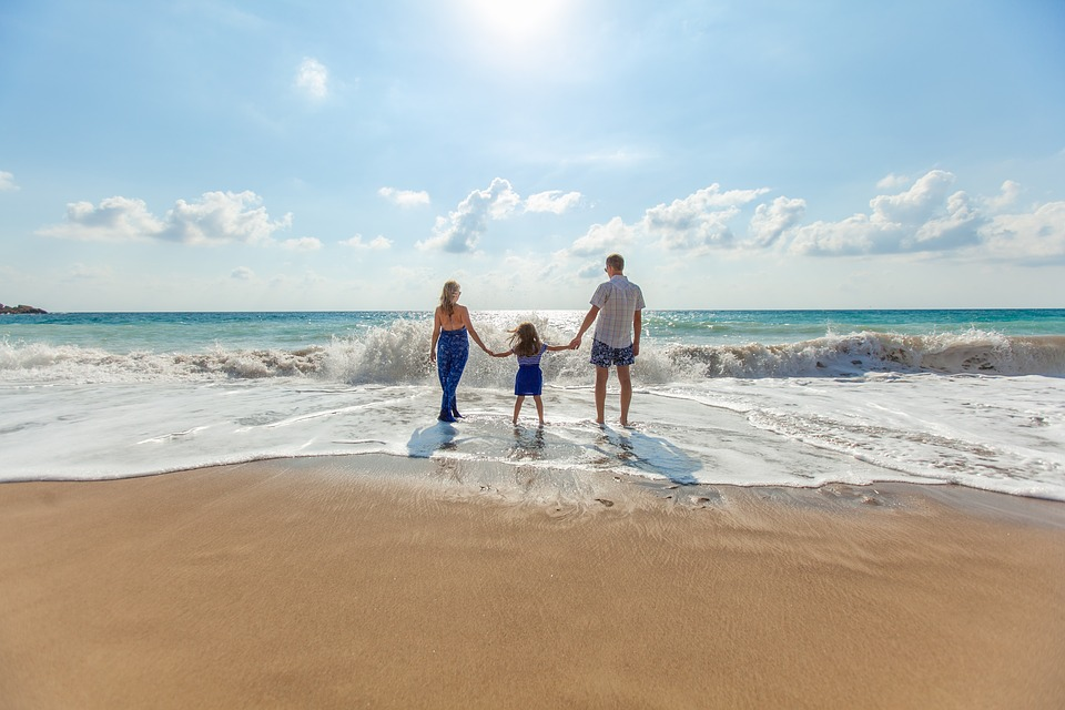 family on the beach during weekend getaways
